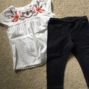 Carter's embroidered peasant blouse w/ jeggings